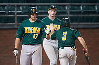 Siena Saints Joe Drpich (47) high fives Phil Madonna (3) after scoring a run during a game against the Stetson Hatters on February 23, 2016 at Melching Field at Conrad Park in DeLand, Florida.  Stetson defeated Siena 5-3.  (Mike Janes/Four Seam Images)