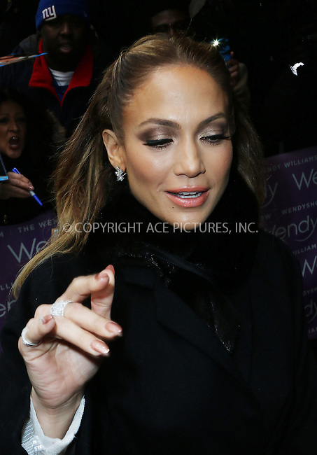 WWW.ACEPIXS.COM<br /> <br /> January 20 2015, New York City<br /> <br /> Actress and singer Jennifer Lopez arrives at The Wendy Williams Show on January 20 2015 in New York City<br /> <br /> Byline: Zelig Shaul/ACE Pictures<br />  <br /> Ace Pictures, Inc:  <br /> tel: (646) 769 0430<br /> e-mail: info@acepixs.com<br /> web: http://www.acepixs.com