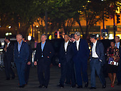 United States President Barack Obama (third from left) walks back to The White House with Vice President Joseph Biden, Jr. (left) U.S. Ambassador to the People's Republic of China Max Baucus (second from left) Secretary of State John Kerry (third from right) Secretary of the Treasury Jacob Lew (second from right) and National Security Advisor Susan Rice (right) following a private dinner with President of the People's Republic of China Xi Jinping in Washington, D.C., Thursday, Sept. 24, 2015, en route to a private dinner across the street at Blair House. <br /> Credit: Rod Lamkey Jr. / Pool via CNP