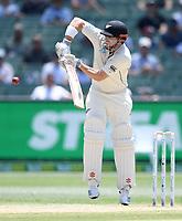 29th December 2019; Melbourne Cricket Ground, Melbourne, Victoria, Australia; International Test Cricket, Australia versus New Zealand, Test 2, Day 4; Henry Nicholls of New Zealand plys the ball defensively - Editorial Use