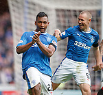 07.04.2018 Rangers v Dundee:<br /> Alfredo Morelos celebrates his goal with Kenny Miller