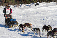 Musher Rick Swenson on Long Lake at the Re-Start of the 2011 Iditarod Sled Dog Race in Willow, Alaska.