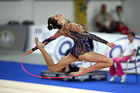 September 21, 2007; Patras, Greece;  Neta Rivkin of Israel stag leaps with rope during All-Around final at 2007 World Championships Patras.  Photo by Tom Theobald. .