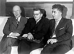XBH366684 The composers Sergei Prokofiev, Dmitri Shostakovich and Aram Khachaturian, 1945 (b/w photo) by Russian Photographer (20th century); Private Collection; (add.info.: Prokofiev (1891-1953) was a Russian composer, pianist and conductor; Shostakovich (1906-75) was a Russian composer; Khachaturian (1903-78) was a Soviet-Armenian composer;); Russian,  it is possible that some works by this artist may be protected by third party rights in some territories