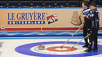 Glasgow. SCOTLAND.  left. Tom BREWSTER and Glen MUIRHEAD, &quot;Round Robin&quot; Games. Le Gruy&egrave;re European Curling Championships. 2016 Venue, Braehead  Scotland<br /> Monday  21/11/2016<br /> <br /> [Mandatory Credit; Peter Spurrier/Intersport-images]
