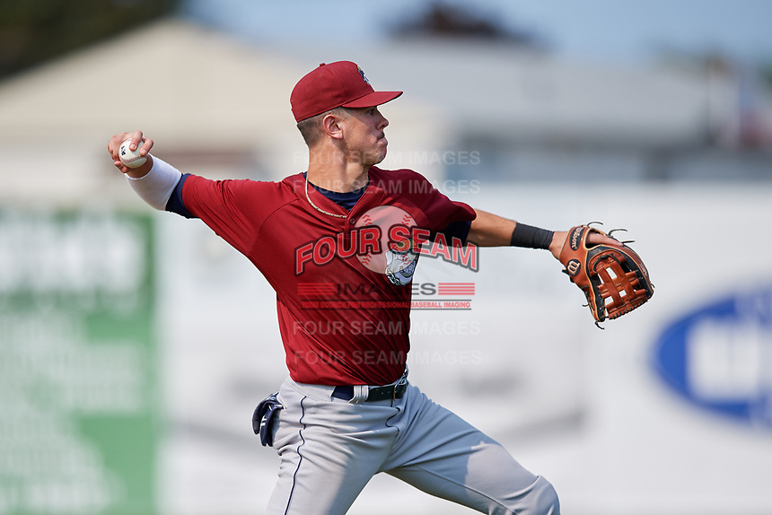 Mahoning Valley Scrappers third baseman Nolan Jones (10) throws to first base during the first game of a doubleheader against the Batavia Muckdogs on September 4, 2017 at Dwyer Stadium in Batavia, New York.  Mahoning Valley defeated Batavia 4-3.  (Mike Janes/Four Seam Images)