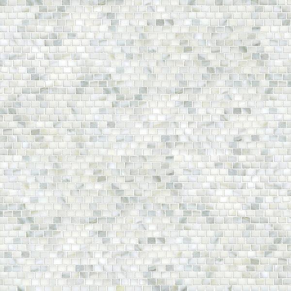 Minibricks, a hand-cut stone mosaic, shown in polished Calacattta Tia.