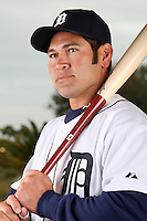 February 27, 2010:  Outfielder Johnny Damon (18) of the Detroit Tigers poses for a photo during media day at Joker Marchant Stadium in Lakeland, FL.  Photo By Mike Janes/Four Seam Images