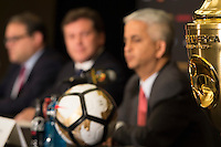 New York, NY - Friday June 24, 2016: CONMEBOL president Alejandro Dominguez, CONCACAF president Victor Montagliani, Copa America Local Organizing Committee chairman and U.S. Soccer President Sunil Gulati during a press conference prior to the final of the Copa America Centenario at The Westin New York at Times Square.<br /> <br /> Photo during American Cup USA 2016 Press Conference The Westin New York at Times Square --- Foto durante la Conferencia de Prensa previo a la Gran Final de la Copa America Centenario USA 2016, enla foto:  Trofeo<br /> ---24/06/2016/MEXSPORT/ Jorge Martinez.