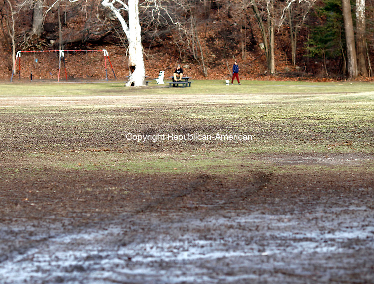 Waterbury, CT- 15 January 2014-011514CM01-  What appears to be tire impressions are left in the outfield of a ball field on Boyden Street in the Waterville Wednesday afternoon.  A quad was said to have caused the damage to the fields.    Christopher Massa Republican-American