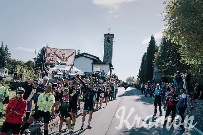the famous Madonna del Ghisallo chapel (754m)<br /> <br /> Il Lombardia 2017<br /> Bergamo to Como (ITA) 247km