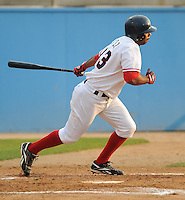 June 21, 2008: Outfielder Edgardo Baez (33) of the Potomac Nationals, Carolina League affiliate of the Washington Nationals, in a game against the Frederick Keys at G. Richard Pfitzner Stadium in Woodbridge, Va. Photo by:  Tom Priddy/Four Seam Images