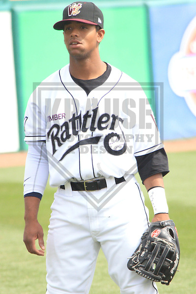 APPLETON - APRIL 2010: Khris Davis #5 of the Wisconsin Timber Rattlers, Class-A affiliate of the Milwaukee Brewers, prior to a game on April 12, 2010 at Fox Cities Stadium in Appleton, Wisconsin. (Photo by Brad Krause)