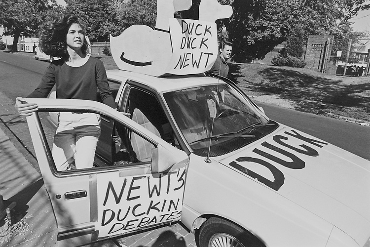 "Michael Cole's ""Newt Gingrich's Duckin Debates"" car on 2nd Street. September 26, 1996 (Photo by Rebecca Roth/CQ Roll Call)"