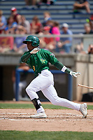 Beloit Snappers left fielder Lazaro Armenteros (8) follows through on a swing during a game against the Dayton Dragons on July 22, 2018 at Pohlman Field in Beloit, Wisconsin.  Dayton defeated Beloit 2-1.  (Mike Janes/Four Seam Images)