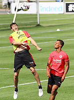 David Abraham (Eintracht Frankfurt) gegen Timothy Chandler (Eintracht Frankfurt) - 08.08.2018: Eintracht Frankfurt Training, Commerzbank Arena<br /> <br /> DISCLAIMER: <br /> DFL regulations prohibit any use of photographs as image sequences and/or quasi-video.
