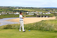 Richard Knightly (The Royal Dublin) on the 9th tee during Round 3 of The South of Ireland in Lahinch Golf Club on Monday 28th July 2014.<br /> Picture:  Thos Caffrey / www.golffile.ie