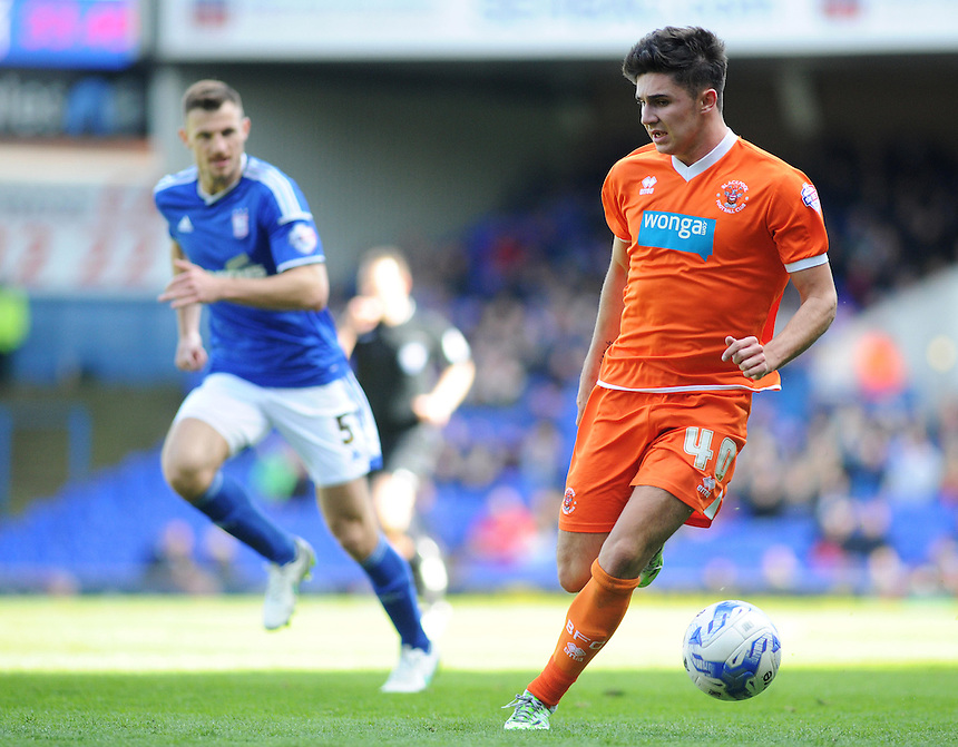 Blackpool's Henry Cameron in action during todays match  <br /> <br /> Photographer Kevin Barnes/CameraSport<br /> <br /> Football - The Football League Sky Bet Championship - Ipswich Town v  Blackpool - Saturday 11th April 2015 - Portman Road - Ipswich<br /> <br /> &copy; CameraSport - 43 Linden Ave. Countesthorpe. Leicester. England. LE8 5PG - Tel: +44 (0) 116 277 4147 - admin@camerasport.com - www.camerasport.com