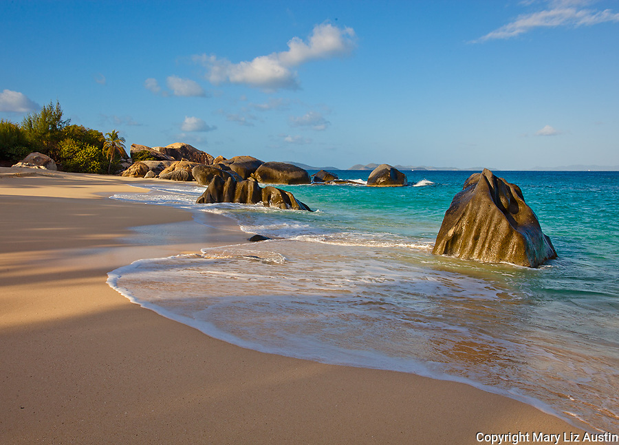 Virgin Gorda, British Virgin Islands, Caribbean<br /> Morning light on the beach of Valley Trunk Bay near the Baths