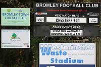 General view outside the ground of signage promoting today's game during Bromley vs Chesterfield, Vanarama National League Football at the H2T Group Stadium on 7th September 2019