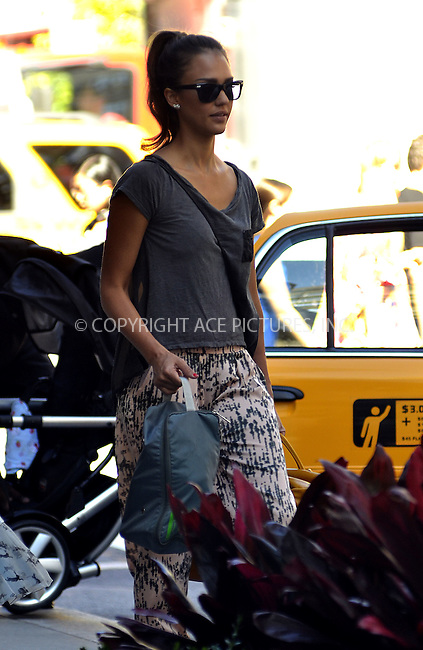 WWW.ACEPIXS.COM . . . . .  ....July 25 2012, New York City....Actress  Jessica Alba leaves her Soho hotel on July 25 2012 in New York City....Please byline: CURTIS MEANS - ACE PICTURES.... *** ***..Ace Pictures, Inc:  ..Philip Vaughan (212) 243-8787 or (646) 769 0430..e-mail: info@acepixs.com..web: http://www.acepixs.com