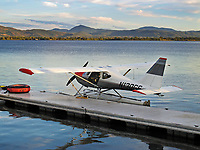 Glasair GlaStar N130GS docked at a pier at the Skylark Shores Resort during the Clear Lake Splash In, Lakeport, Lake County, California