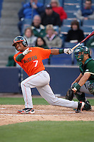 March 2, 2010:  Zeke DeVoss of the Miami Hurricanes during a game at Legends Field in Tampa, FL.  Photo By Mike Janes/Four Seam Images
