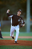 Alex McFarlane during the WWBA World Championship at the Roger Dean Complex on October 19, 2018 in Jupiter, Florida.  Alex McFarlane is a right handed pitcher from St. Thomas, Virgin Islands who attends VI Montessori School and Peter Gruber International Academy and is committed to Miami.  (Mike Janes/Four Seam Images)