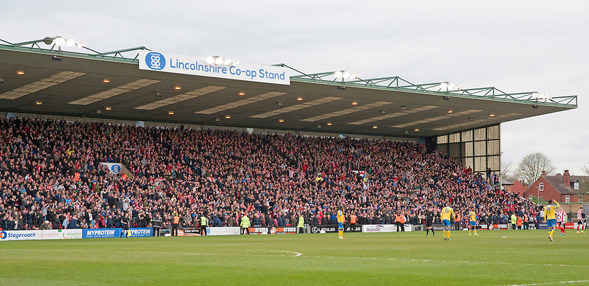 A general view of Sincil Bank, home of Lincoln City<br /> <br /> Photographer Andrew Vaughan/CameraSport<br /> <br /> Vanarama National League - Lincoln City v Torquay United - Friday 14th April 2016  - Sincil Bank - Lincoln<br /> <br /> World Copyright &copy; 2017 CameraSport. All rights reserved. 43 Linden Ave. Countesthorpe. Leicester. England. LE8 5PG - Tel: +44 (0) 116 277 4147 - admin@camerasport.com - www.camerasport.com