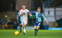 Dominic Gape of Wycombe Wanderers battles James Collins of Crawley Town during the Sky Bet League 2 match between Wycombe Wanderers and Crawley Town at Adams Park, High Wycombe, England on 25 February 2017. Photo by Andy Rowland / PRiME Media Images.