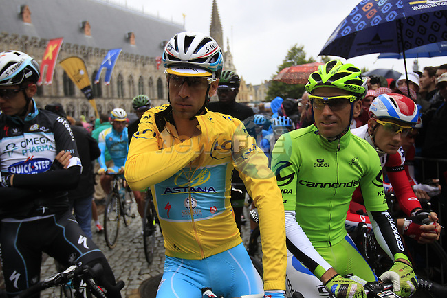 Race leader Yellow Jersey Vincenzo Nibail (ITA) Astana and Marco Marcato (ITA) Cannondale on the start line in Ypres before the start of the cobbled stage Stage 5 of the 2014 Tour de France running 155.5km from Ypres to Arenberg. 9th July 2014.<br /> Picture: Eoin Clarke www.newsfile.ie