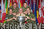 MILITARY: Lt Pat McTighue of 31st Military Police Company Ballymullen Barracks,Tralee who arranged for the Sam Maguire Cup to Visit the unit in Ballymullen Barracks Tralee on Tuesday evening. Front l-r: Sgt Aiden Griffin, Capt Billy Heaslip and Lt Pat McTighue. Back l-r: Sgts Don Barrett and David Heaslip ..