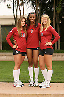 STANFORD, CA - AUGUST 12:  Katherine Sebastian (14), Jessica Walker (7), and Katherine Knox (6) of the Stanford Cardinal during picture day on August 12, 2008 at Arrillaga Plaza in Stanford, California.