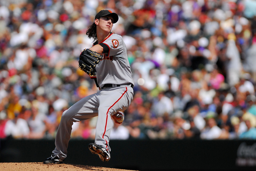 August 23, 2009: Giants starting pitcher Tim Lincecum during a regular season game between the San Francisco Giants and the Colorado Rockies at Coors Field in Denver, Colorado. The Rockies beat the Giants 4-2. *****For editorial use only*****