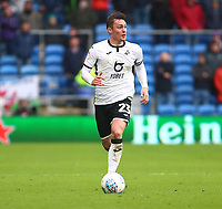 12th January 2020; Cardiff City Stadium, Cardiff, Glamorgan, Wales; English Championship Football, Cardiff City versus Swansea City; Connor Roberts of Swansea City looks for options as Swansea City move forward - Strictly Editorial Use Only. No use with unauthorized audio, video, data, fixture lists, club/league logos or 'live' services. Online in-match use limited to 120 images, no video emulation. No use in betting, games or single club/league/player publications