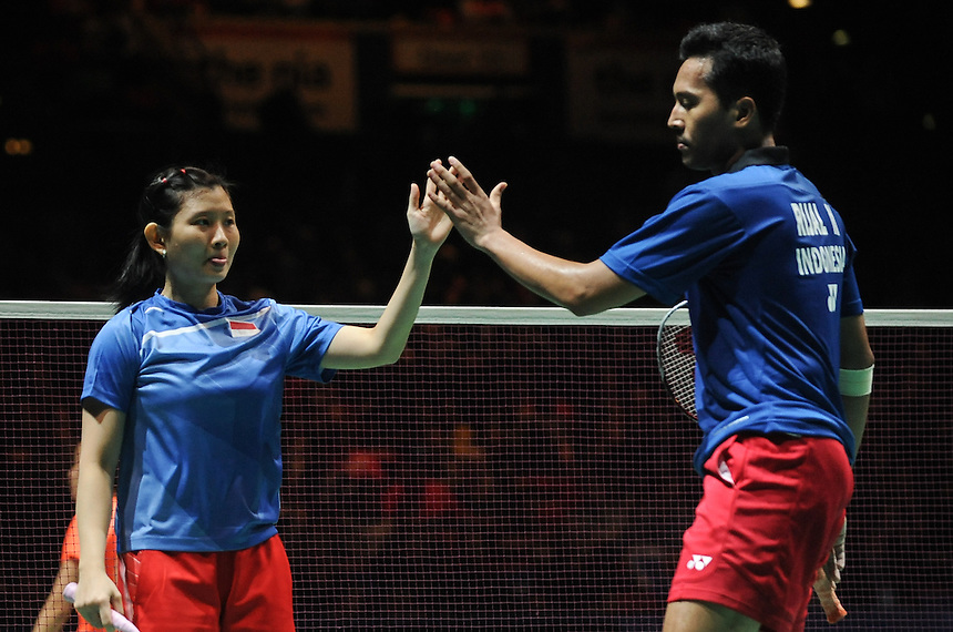 Muhammad RIJAL [7] [INA] and Debby SUSANTO [INA] in action today during their defeat to Nan ZHANG [5] [CHN] and Yunlei ZHAO [CHN]  in their Mixed Doubles Semi final match. Nan ZHANG [5] [CHN] and Yunlei ZHAO [CHN] bt Muhammad RIJAL [7] [INA] and Debby SUSANTO [INA]  21-17 21-16..BWF -  2013 Yonex All England Badminton Championships Super Series Premier - The National Indoor Arena - Birmingham - England - Saturday 09th March 2013..© CameraSport - 43 Linden Ave. Countesthorpe. Leicester. England. LE8 5PG - Tel: +44 (0) 116 277 4147 - admin@camerasport.com - www.camerasport.com