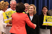 New York State Senator Kirsten Gillibrand greets Democratic candidate Kathy Hochul during a rally at UAW Union Hall on May 21, 2011 in Amherst, New York.  Hochul is running for the House of Representatives, NY-26th, in a special election to replace disgraced former Congressman Christopher Lee who abruptly resigned after a sex scandal.  Photo By Mike Janes/Four Seam Images
