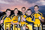 Liebherr team mates l-r: AJ O'Connor Kiskeam, Luke Quinn  Dr Crokes Captain, Eoin Lawlor, Darragh Twomey Cullen and Daniel O'Shea Currow celebrate after winning the All Ireland Senior A Inter firm final against reigning champions Medronic (Galway) in Fossa on Friday