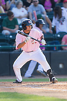 Isiah Kiner-Falefa (48) of the Hickory Crawdads squares to bunt against the Augusta GreenJackets at L.P. Frans Stadium on May 11, 2014 in Hickory, North Carolina.  The GreenJackets defeated the Crawdads 9-4.  (Brian Westerholt/Four Seam Images)