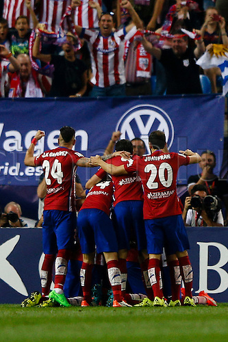 12.09.2015. Madrid, Spain.  Atletico de Madrid's Fernando Torres celebrates after scoring his team´s goal for 1-0 during a Spanish La Liga soccer match between  Atletico de Madrid versus  FC Barcelona at the Vicente Calderon stadium in Madrid, Spain, September 12, 2015.