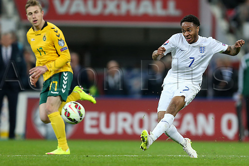 27.03.2015, Wembley Stadium, London England. EURO 2016 qualification match. England versus Lithuania.  Raheem Sterling (ENG) gets his shot on goal