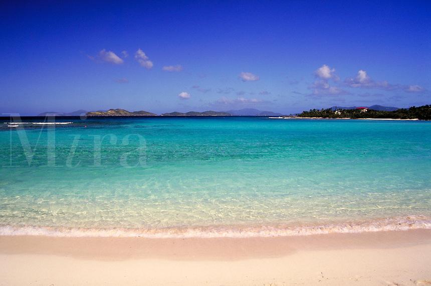 Lindquist beach Caribbean water with blue sky. St. Thomas, US Virgin Islands Lindquist Beach.
