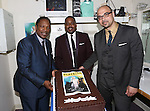 "Musicians Shelton Becton, George Farmer, and Clayton Craddock  backstage at ""Lady Day At Emerson's Bar And Grill"" celebrating 100  Broadway Performances  at Circle in the Square on July 2, 2014 in New York City."