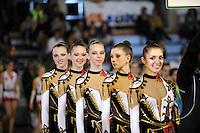 November 8, 2008; Durango, Spain (near Bilbao); Rhythmic gymnasts from Ukraine senior group smile to camera before awards ceremony at 2008 Euskalgym International..