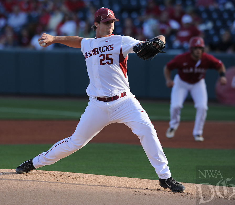 NWA Democrat-Gazette/ANDY SHUPE<br /> Arkansas Alabama Friday, May 13, 2016, during the inning at Baum Stadium in Fayetteville. Visit nwadg.com/photos to see more photographs from the game.
