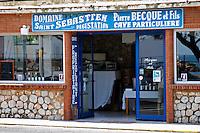 Wine shop. Domaine Saint Sebastien, Pierre Becque et fils. Banyuls sur Mer, Roussillon, France