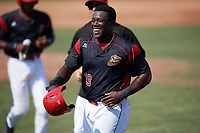 Batavia Muckdogs designated hitter Lazaro Alonso (19) after scoring the game winning run on a bases loaded walk during the first game of a doubleheader against the Williamsport Crosscutters on August 20, 2017 at Dwyer Stadium in Batavia, New York.  Batavia defeated Williamsport 6-5.  (Mike Janes/Four Seam Images)