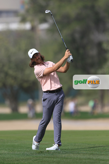 Tommy Fleetwood (ENG) on the 3rd fairway during Round 2 of the Omega Dubai Desert Classic, Emirates Golf Club, Dubai,  United Arab Emirates. 25/01/2019<br /> Picture: Golffile | Thos Caffrey<br /> <br /> <br /> All photo usage must carry mandatory copyright credit (&copy; Golffile | Thos Caffrey)