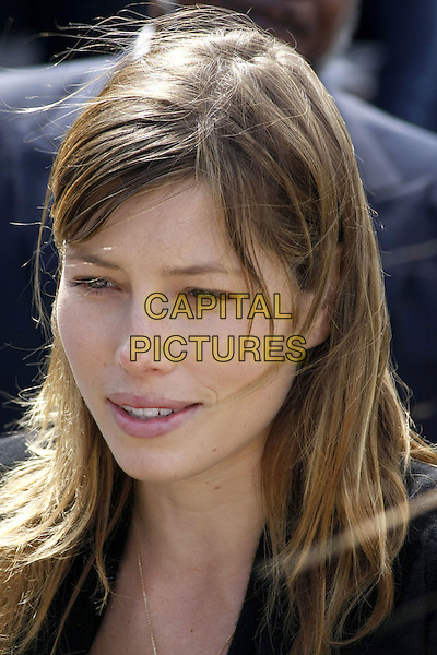 """JESSICA BIEL .""""Last Chance for Change"""" Rally and Canvas Kick-off with Justin Timberlake held at the Clark County Amphitheater, Las Vegas, Nevada, USA, .11 October 2008.portrait headshot brunette brown hair fringe side swept no make-up .CAP/ADM/MJT.©MJT/Admedia/Capital Pictures"""