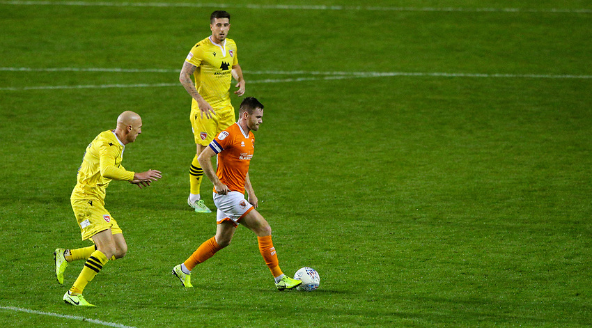 Blackpool's Ollie Turton gets away from Morecambe's Kevin Ellison<br /> <br /> Photographer Alex Dodd/CameraSport<br /> <br /> EFL Leasing.com Trophy - Northern Section - Group G - Blackpool v Morecambe - Tuesday 3rd September 2019 - Bloomfield Road - Blackpool<br />  <br /> World Copyright © 2018 CameraSport. All rights reserved. 43 Linden Ave. Countesthorpe. Leicester. England. LE8 5PG - Tel: +44 (0) 116 277 4147 - admin@camerasport.com - www.camerasport.com